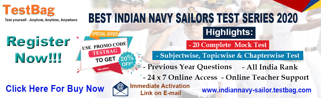Indian Navy Sailor SSR & AA 2019 Free Mock Test, Online Test Series